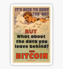 Bitcoin - Surf the 'Net Sticker