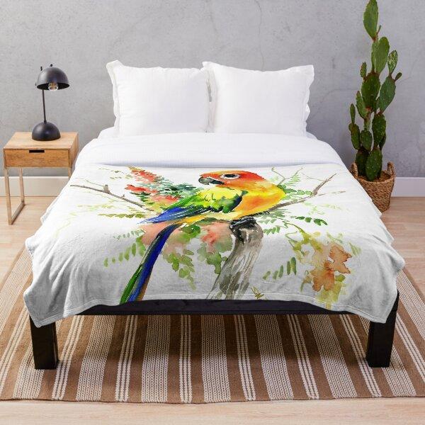 Sun Conure Parakeet Throw Blanket