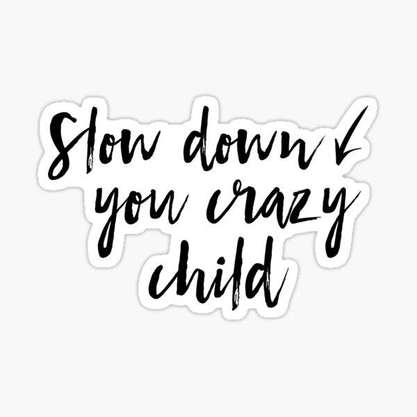Slow down you crazy child Sticker