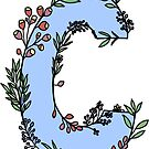"floral blue ""c"" letter by andilynnf"