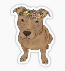 pitbull with flower crown Sticker