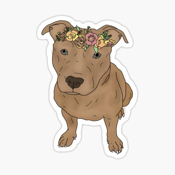 pitbull con corona de flores Pegatina