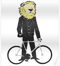 Lion on bycicle Poster