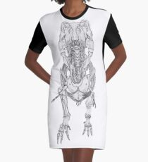 Tyrannosaurus Rex Skeleton Graphic T-Shirt Dress