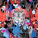 Seamless bright floral pattern of wild beasts by Tanor