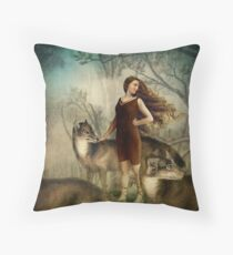 Running with the wolfs Throw Pillow