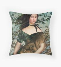 Portrait with a wolf Throw Pillow
