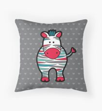 Doodle Zebra on Grey Background Throw Pillow