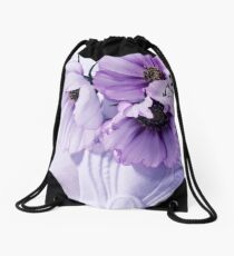 Three Lavender Cosmos Drawstring Bag