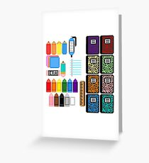 Pixel School Supplies Greeting Card