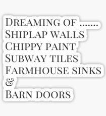 Shiplap Walls Subway Tiles Farmhouse Sinks Barn Doors Sticker