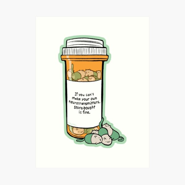 Purrozac Perscription Art Print