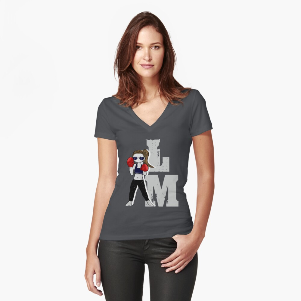 Lindsey Morgan - LM -White Women's Fitted V-Neck T-Shirt Front