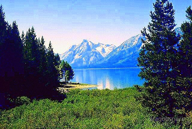 Grand Tetons reflected in Jenny Lake by dragonsnare