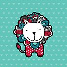Doodle Lion with Aqua Background by Glynnis Owen