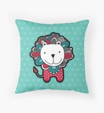 Doodle Lion with Aqua Background Throw Pillow