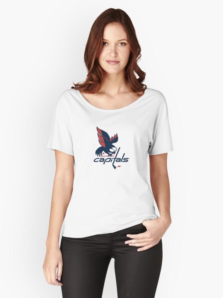50492d673ed Washington Capitals Ice Hockey Alternate Logo Women s Relaxed Fit T-Shirt  Front