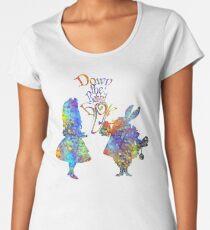 Alice im Wunderland u. Weißes Kaninchen-bunter Aquarell-Spritzer Frauen Premium T-Shirts