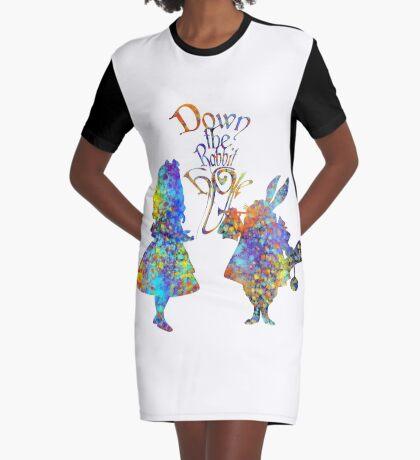 Salpicadura de acuarela colorida de Alicia en el país de las maravillas y conejo blanco Vestido camiseta