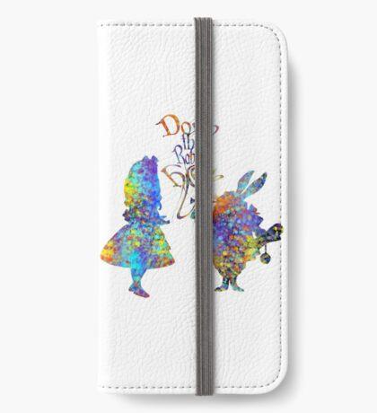 Salpicadura de acuarela colorida de Alicia en el país de las maravillas y conejo blanco Funda tarjetero para iPhone