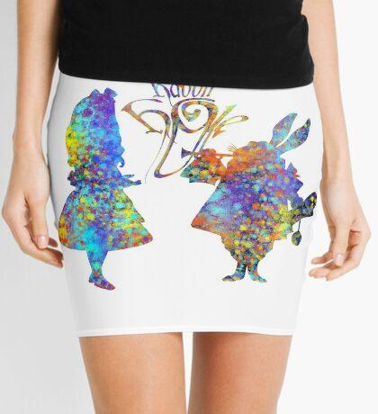 Salpicadura de acuarela colorida de Alicia en el país de las maravillas y conejo blanco Minifalda
