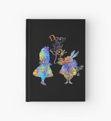 Salpicadura de acuarela colorida de Alicia en el país de las maravillas y conejo blanco Cuaderno de tapa dura