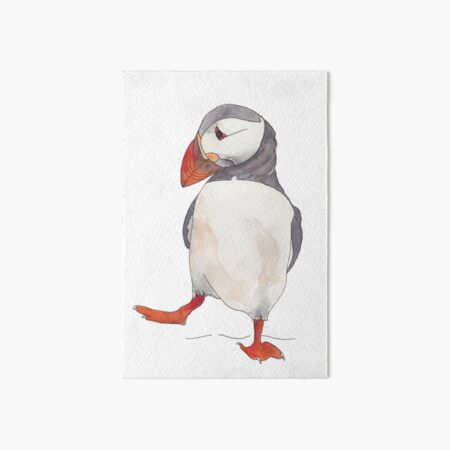 Dancing puffin watercolor illustration Art Board Print