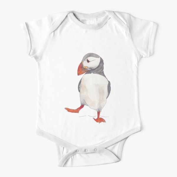 Dancing puffin watercolor illustration Short Sleeve Baby One-Piece