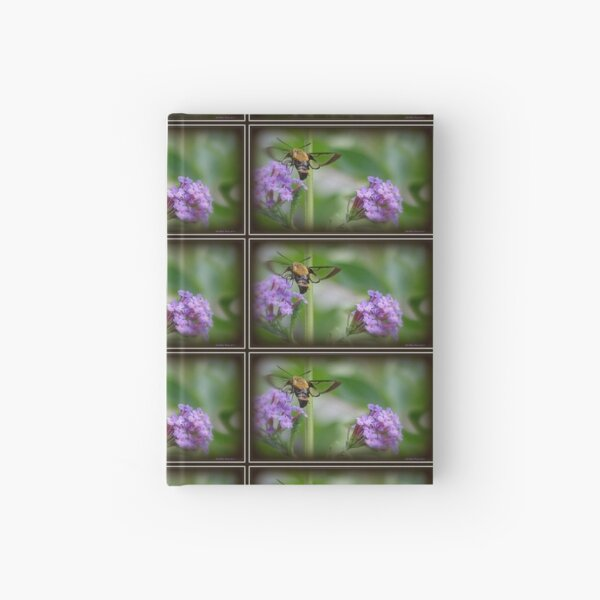 Snowberry Clearwing Hummingbird Moth on a Butterfly Bush Hardcover Journal