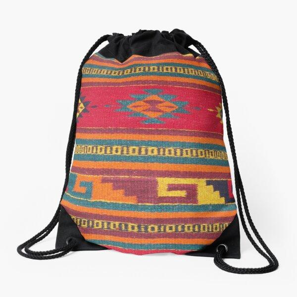 Colorful red Aztec Pattern Drawstring Bag