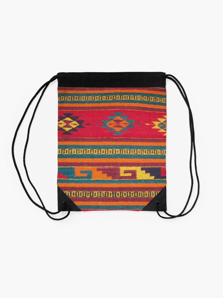 Alternate view of Colorful red Aztec Pattern Drawstring Bag