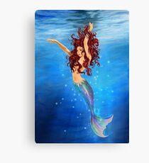 Mermaid I - Auburn Hair, Blue Eyes Canvas Print