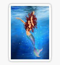 Mermaid I - Auburn Hair, Blue Eyes Sticker