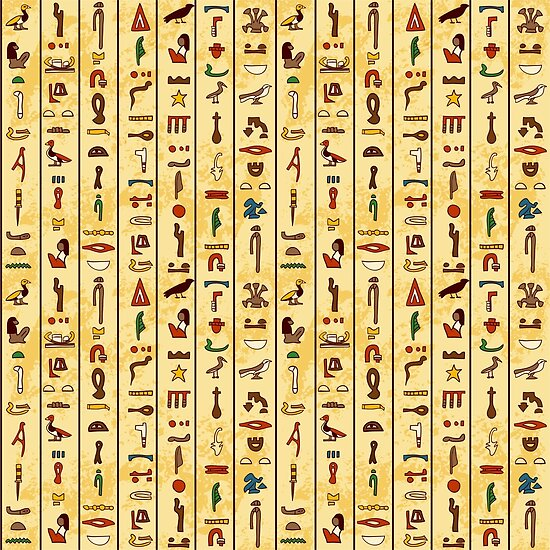 Seamless Pattern With Multicolored Ancient Egyptian Hieroglyphics On Papyrus Old Paper Background By Kateja
