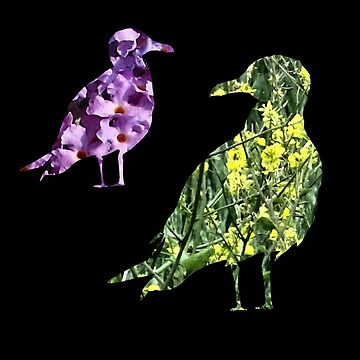 Floral flight patchwork birds by chihuahuashower