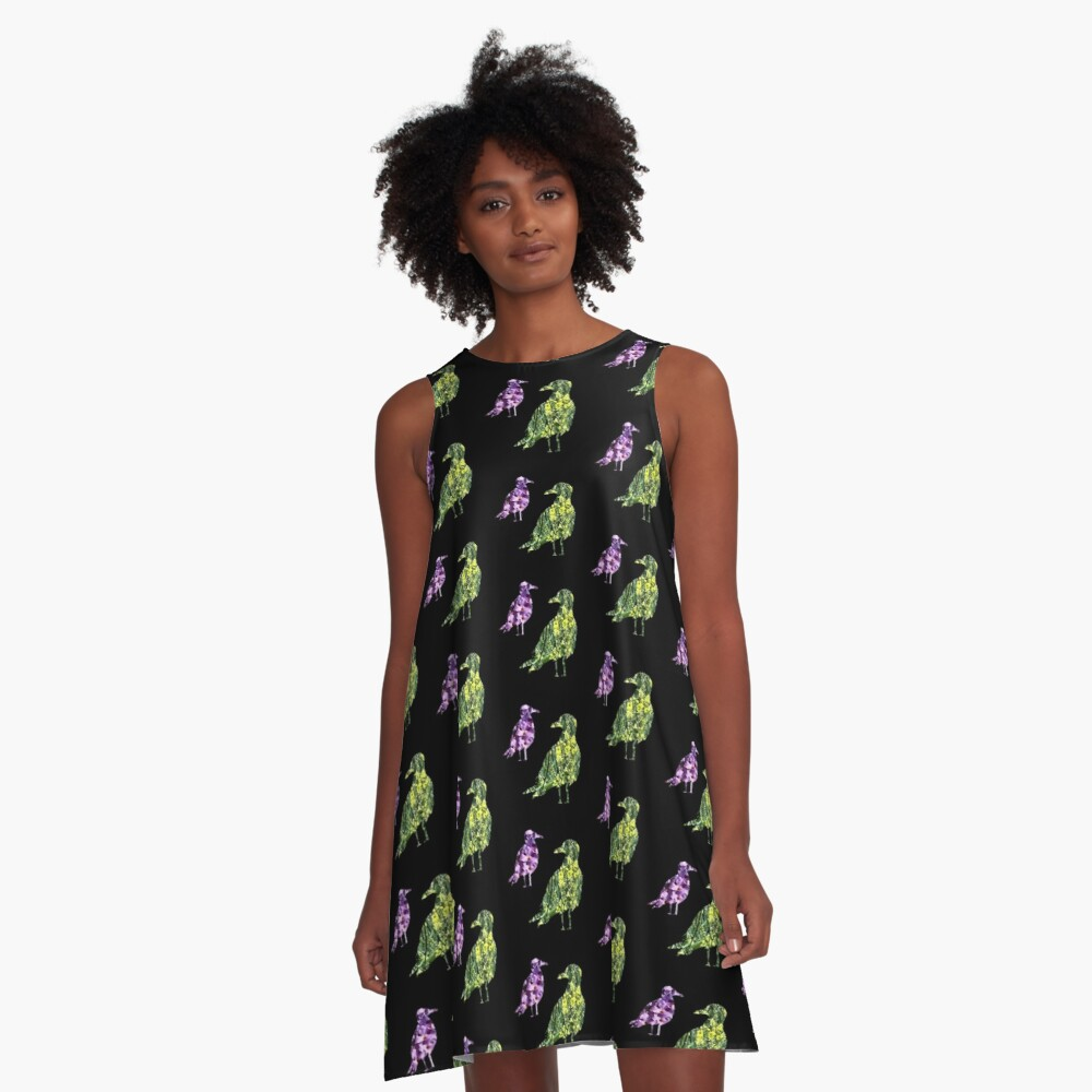 Floral flight patchwork birds A-Line Dress Front