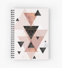 Geometric Triangles in blush and rose gold Spiral Notebook