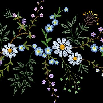 Embroidery. Wildflowers on backgrounds of any color. by LuckyStep
