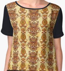 Egypt colorful floral ornament on aged paper background.  Chiffon Top