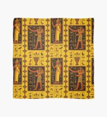 Seamless pattern with egyptian gods and ancient egyptian hieroglyphs Scarf