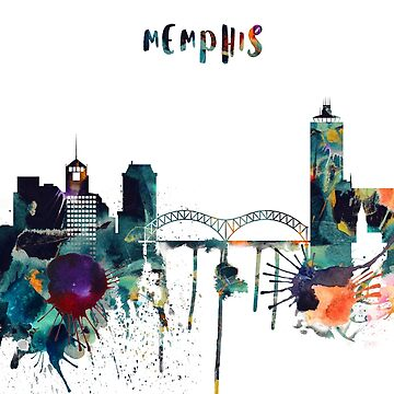 Watercolor Memphis skyline by IvonDesign