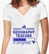 GEOGRAPHY TEACHER Women's Fitted V-Neck T-Shirt