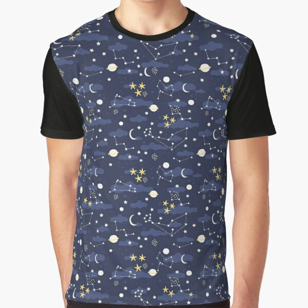 Galaxy - cosmos, moon and stars. Astronomy pattern. Cute cartoon universe design. Graphic T-Shirt