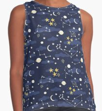 cosmos, moon and stars. Astronomy pattern Sleeveless Top