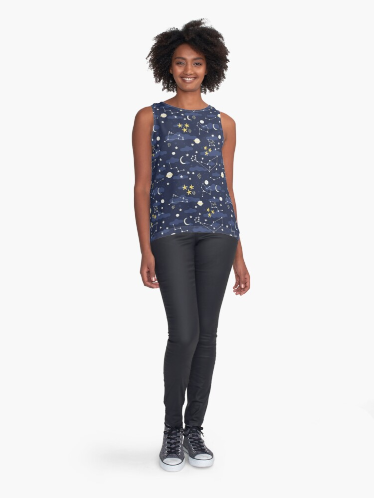 Alternate view of cosmos, moon and stars. Astronomy pattern Sleeveless Top