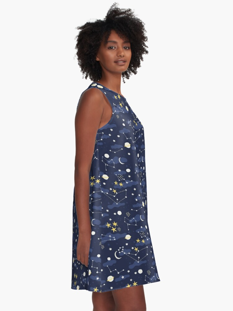 Alternate view of cosmos, moon and stars. Astronomy pattern A-Line Dress