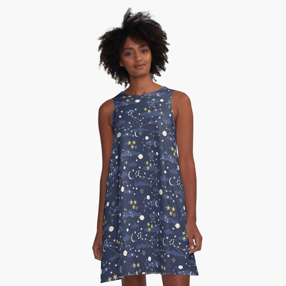 cosmos, moon and stars. Astronomy pattern A-Line Dress
