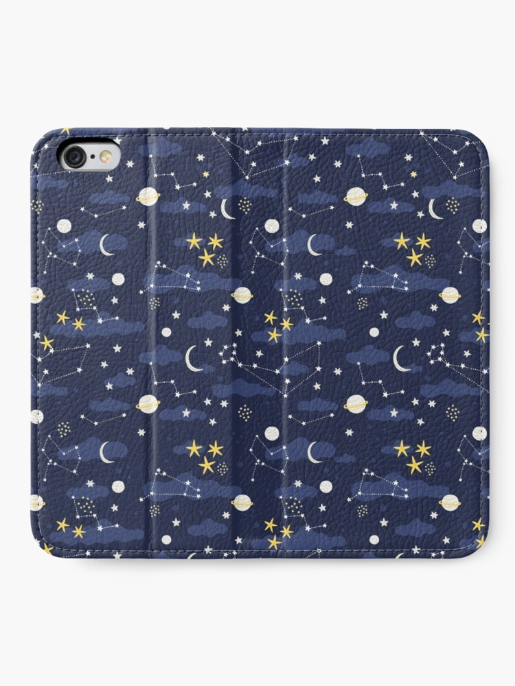 Alternate view of Galaxy - cosmos, moon and stars. Astronomy pattern. Cute cartoon universe design. iPhone Wallet