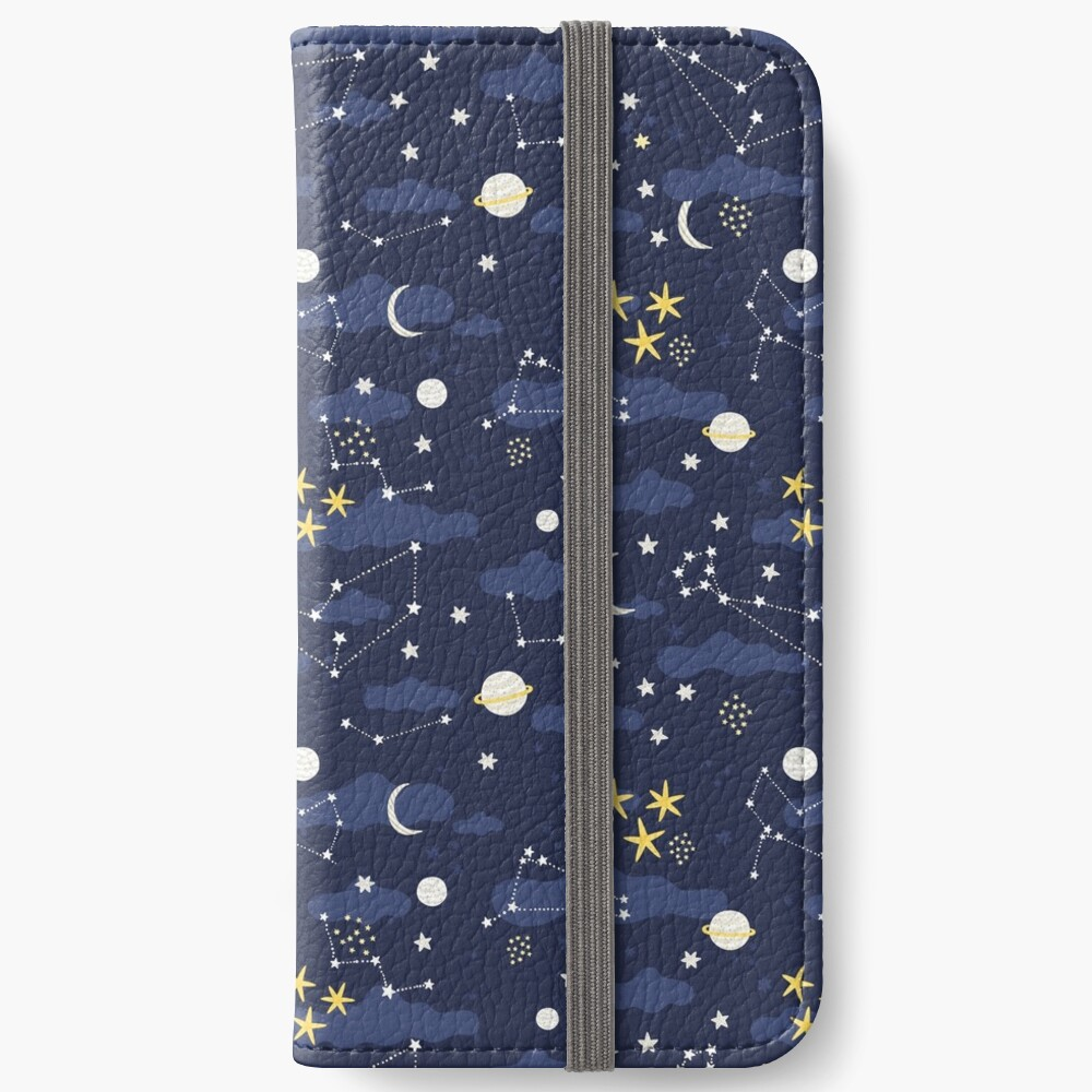 Galaxy - cosmos, moon and stars. Astronomy pattern. Cute cartoon universe design. iPhone Wallet