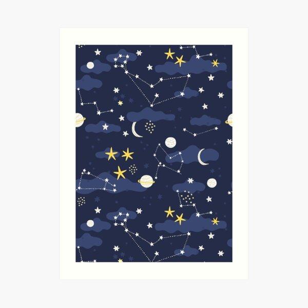 Galaxy - cosmos, moon and stars. Astronomy pattern. Cute cartoon universe design. Art Print